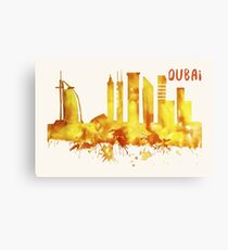 Dubai Skyline Watercolor Cityscape Painting Canvas Print