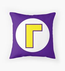 Waluigi Emblem Throw Pillow