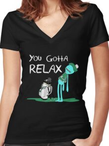 Mr. Meeseeks Quote T-shirt - You Gotta Relax Women's Fitted V-Neck T-Shirt