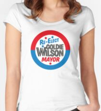 Back to the Future 'Re-Elect Mayor Goldie Wilson' design Women's Fitted Scoop T-Shirt