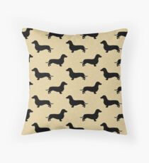 Short Hair Dachshund Cream Pattern Sausage Dog Throw Pillow
