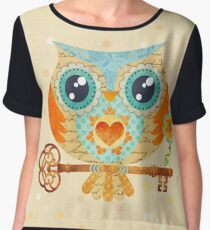Owl's Summer Love Letters Chiffon Top