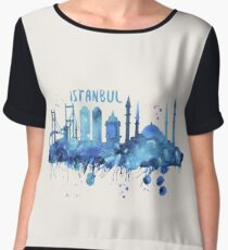 Istanbul Skyline Watercolor Cityscape Painting Women's Chiffon Top