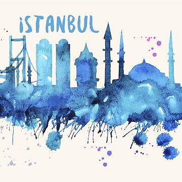 Istanbul Skyline Watercolor Cityscape Painting by beautifymywalls
