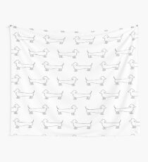Dachshund Silhouette in Light Wall Tapestry