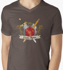 Game Master Red d20 Crest Men's V-Neck T-Shirt