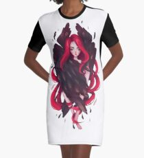 Black Wings Graphic T-Shirt Dress