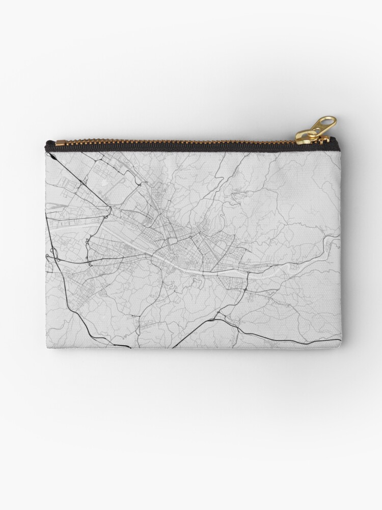 Map Of Italy Showing Florence.Florence Italy Map Black On White Zipper Pouch By Graphical Maps