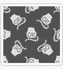 Cute fat cat seamless pattern, funny hand drawn  Sticker
