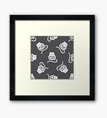 Cute fat cat seamless pattern, funny hand drawn  Framed Print