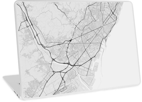 Map Of Spain To Color.Barcelona Spain Map Black On White Laptop Skins By Graphical