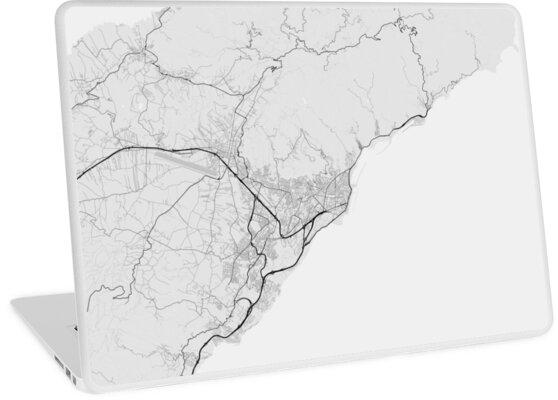 Map Of Spain To Color.Santa Cruz De Tenerife Spain Map Black On White Laptop Skins By