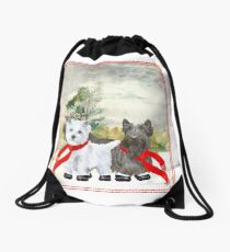 Westie and Scottie Wintertime Drawstring Bag