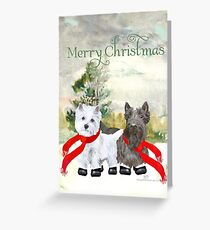 Westie and Scottie Wintertime Greeting Card