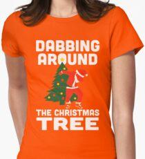 Dabbing Around The Christmas Tree Womens Fitted T-Shirt