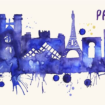 Paris Skyline Watercolor Cityscape Painting by beautifymywalls