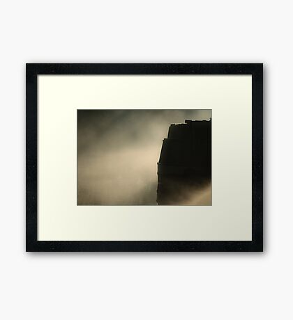 Narrowboat Silhouette and Mist Framed Print