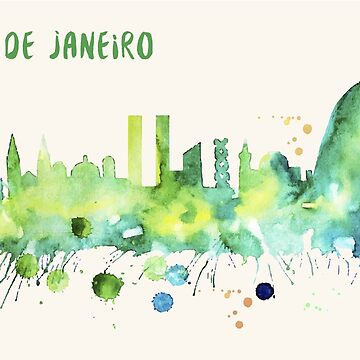 Rio De Janeiro Skyline Watercolor Cityscape Painting by beautifymywalls