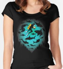 Screwed | Funny Shark and Diver Illustration Women's Fitted Scoop T-Shirt