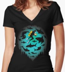Screwed   Funny Shark and Diver Illustration Women's Fitted V-Neck T-Shirt
