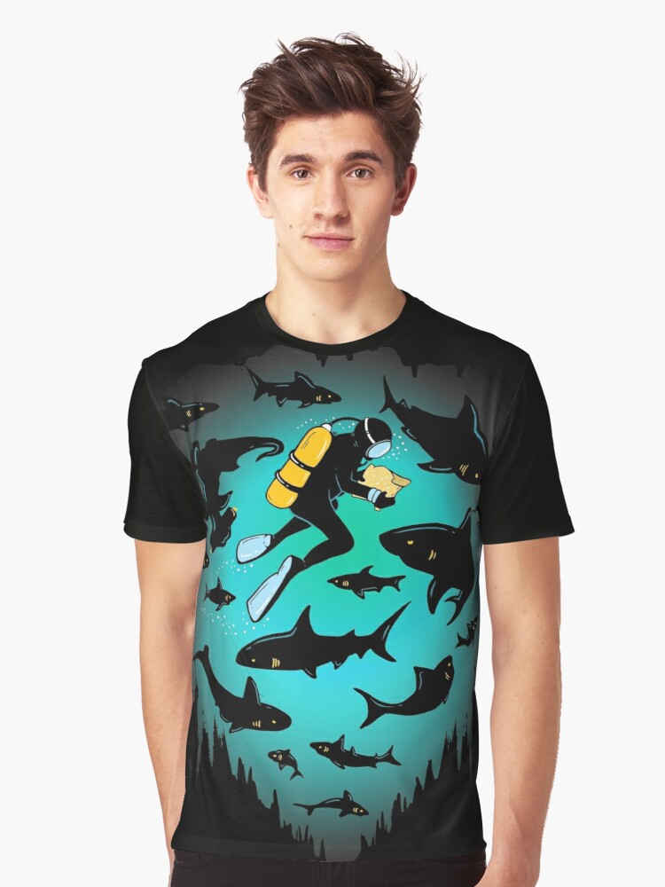 Screwed | Funny Shark and Diver Illustration by BootsBoots