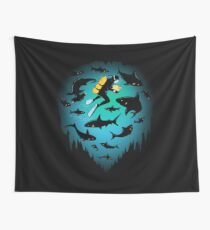 Screwed | Funny Shark and Diver Illustration Wall Tapestry