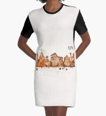 Rome Skyline Watercolor Cityscape Painting Graphic T-Shirt Dress