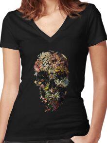 Smyrna Skull Women's Fitted V-Neck T-Shirt