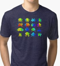 Rainbow Space Invaders Tri-blend T-Shirt