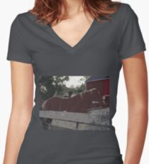 Horse Fence Women's Fitted V-Neck T-Shirt