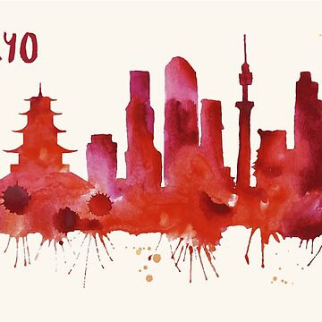 Tokyo Skyline Watercolor Cityscape Painting by beautifymywalls
