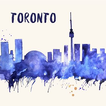 Toronto Skyline Watercolor Cityscape Painting by beautifymywalls