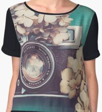 Camera & Hydrangea Women's Chiffon Top