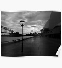 Lights by the Opera House-Black and white Poster