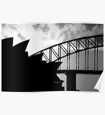 Sydney Opera House and Harbour Bridge - Black and white version Poster
