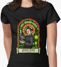 Tesla: The Electric Jesus Women's Fitted T-Shirt