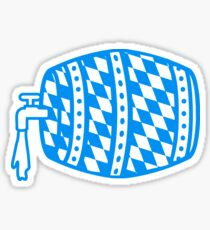blue white flag cock oktoberfest beer booze drink alcohol barrel bavaria party celebrate text shirt cool design Sticker