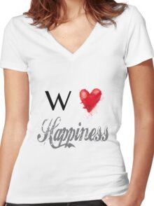 We love Happiness Women's Fitted V-Neck T-Shirt
