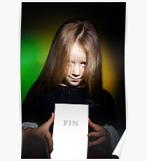 Cute little girl with long hair showing book, on colorful background Poster