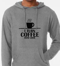 Sudadera con capucha ligera Convertí el café en código