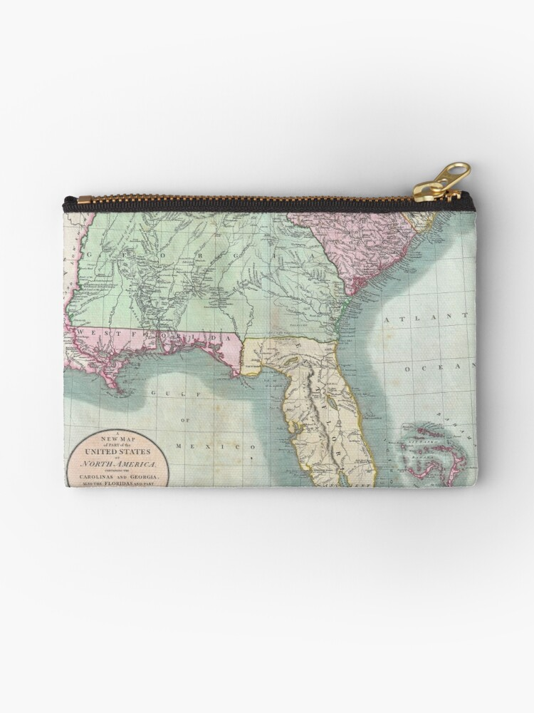 Vintage Map Of The Southeastern Us 1806 Zipper Pouch By - Map-of-the-southeastern-us