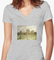 Plein Air Painting At Cowdray House Ruins Sussex Women's Fitted V-Neck T-Shirt