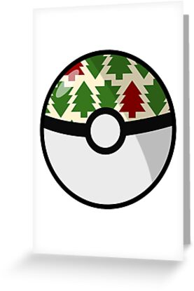 Christmas Pokeball Greeting Cards By Fandomfactory Redbubble