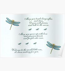 May You Touch Dragonflies and Stars Boy Poster
