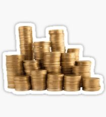 Stack of golden coins isolated on white background Sticker