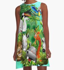 Wild Animals Cartoon on Jungle A-Line Dress