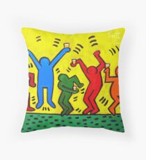 Keith Haring Beer Parody Throw Pillow