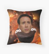 Nicolas Cage on a Cupcake Throw Pillow