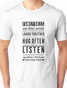 FAMILY RULES modern typography positive art gray T-Shirt