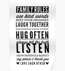 FAMILY RULES modern typography positive art gray Poster